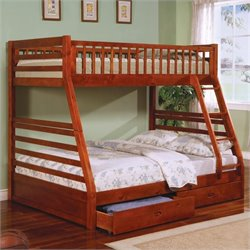 Coaster Ogletown Twin over Full Bunk Bed in Oak Finish