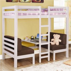 Coaster Twin over Twin Convertible Loft Bunk Bed in White Finish