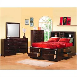 Coaster Phoenix Bookcase Storage Bedroom Set in Cappuccino