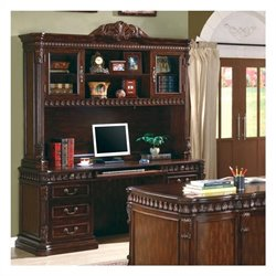 Coaster Union Hill Credenza and Hutch in Rich Brown