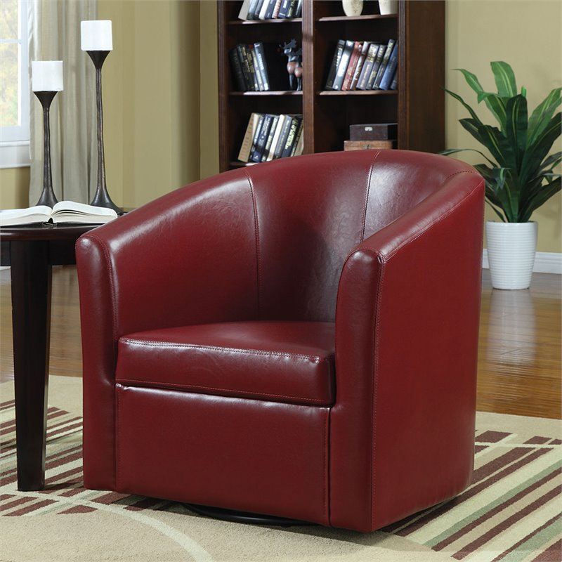 Coaster Barrel Faux Leather Club Chair in Red