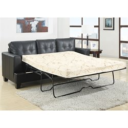 Coaster Samuel Leather Sleeper Sofa Bed in Black