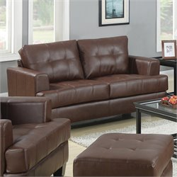 Coaster Samuel Leather Loveseat in Dark Brown