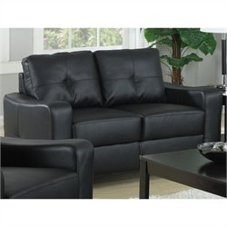 Coaster Jasmine Leather Loveseat in Black