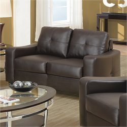 Coaster Jasmine Leather Loveseat in Dark Brown