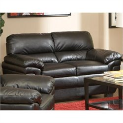 Coaster Fenmore Casual Ultra Plush  Leather Loveseat in Black