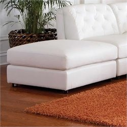 Coaster Quinn Contemporary Square Leather Storage Ottoman in White