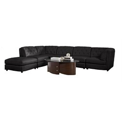 Quinn Transitional Modular Leather Sectional Sofa