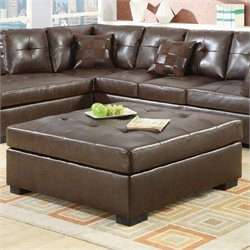 Coaster Darie Leather Square Cocktail Ottoman in Brown