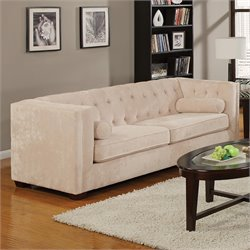 Alexis Transitional Microvelvet Chesterfield Sofa