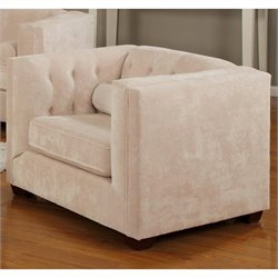 Coaster Alexis Tufted Microvelvet Club Arm Chair in Beige
