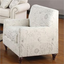 Coaster Norah Accent Arm Chair in White Script