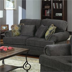 Coaster Colton Traditional Upholstered Love Seat in Smokey Grey