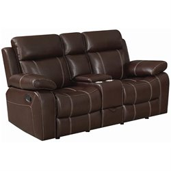 Coaster Myleene Reclining Leather Loveseat in Brown