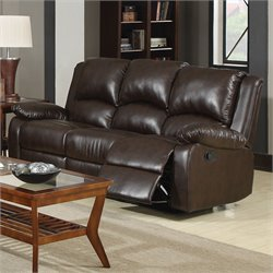 Coaster Boston Three Seat Reclining Leather Sofa in Brown