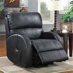 Coaster Leather Power Lift Recliner in Black