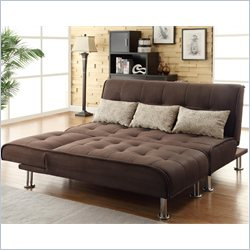 Coaster Transitional Styled Sleeper Sofa and Chaise in Brown