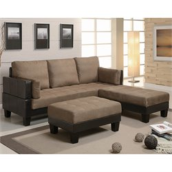 Coaster Fulton Contemporary Sofa Bed Group with 2 Ottomans in Tan