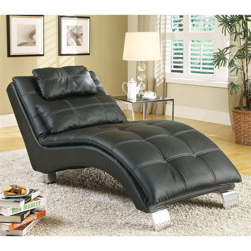 Coaster casual and contemporary living room leather chaise for Accent traditional chaise by coaster