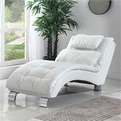 Coaster Casual and Contemporary Living Room Leather Chaise in White
