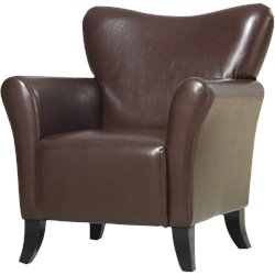 Coaster Accent Seating Faux Leather Upholstered Chair in Brown