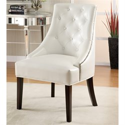 Coaster Upholstered Swayback Accent Tufted Chair in White