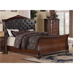 Coaster Maddison Sleigh Bed in Brown Cherry Finish