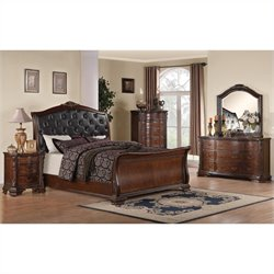 Coaster Maddison Bedoom Set in Warm Brown Cherry