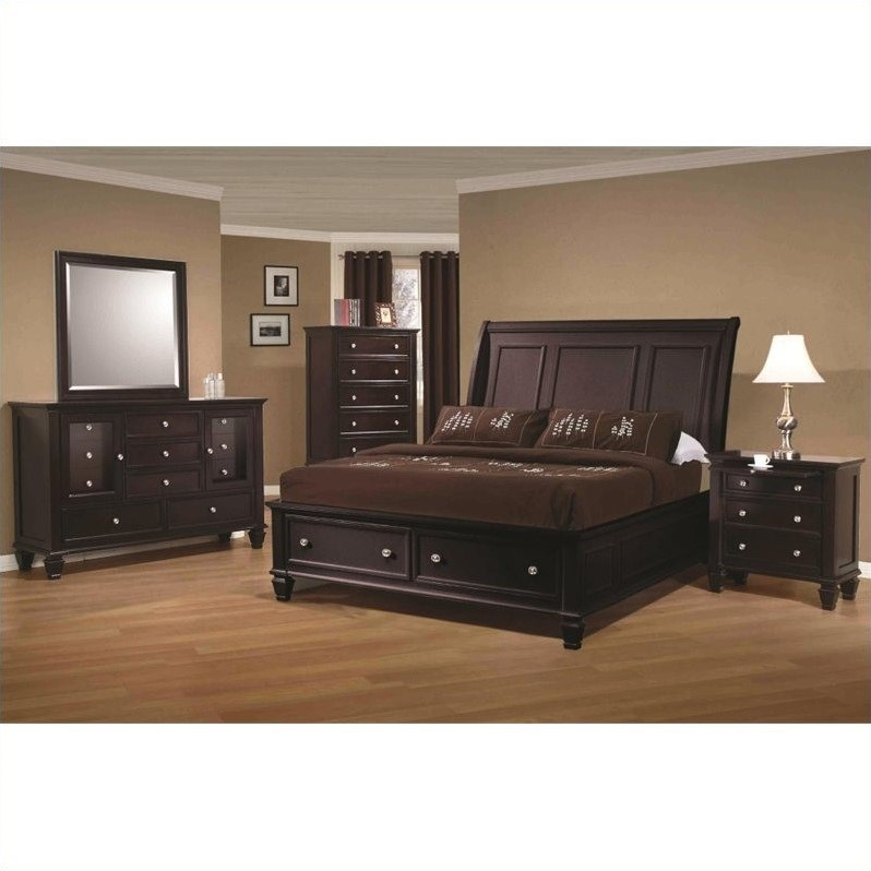 Coaster Sandy Beach 6 Piece Bedroom Set in Cappuccino Finish