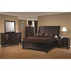 Coaster Sandy Beach Bedroom Set in Cappuccino Finish 1