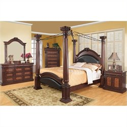Coaster Grand Prado Bedroom Set in Warm Cherry Finish