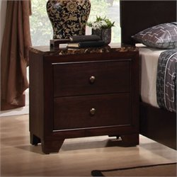Coaster Conner Night Stand with Faux Marble Top in Walnut
