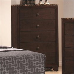 Coaster Conner 5 Drawer Chest with Faux Marble Top in Walnut