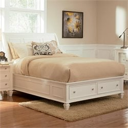Coaster Sandy Beach Sleigh Bed with Storage Footboard in White