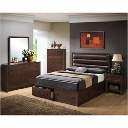 Coaster Serenity 5 Piece Bedroom Set in Rich Merlot Finish