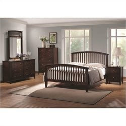 Coaster Tia 3 Piece Bedroom Set in Warm Cappuccino Finish