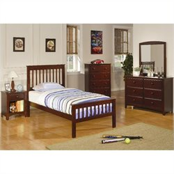 Coaster Parker Slat 4 Piece Bedroom In Deep Dark Cappuccino