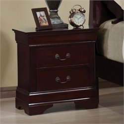 Coaster Louis Philippe Two Drawer Nightstand in Rich Cherry