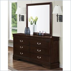 Coaster Louis Philippe Dresser and Mirror Set in Cappuccino