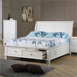 Coaster Sandy Beach Full Sleigh Bed in White Finish