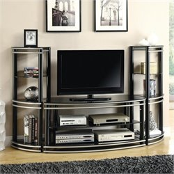 Coaster Demilune Entertainment Center in Black and Silver