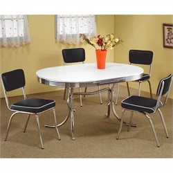 Coaster Cleveland 5 Piece Chrome Plated Dining Set in White/Black
