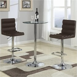Coaster Table with Tempered Glass Top 3 Piece Pub Set