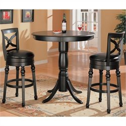 Coaster Lathrop 3 Piece Pub Set in Black Finish