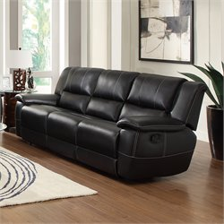 Coaster Lee Motion Leather Recliner Sofa in Black