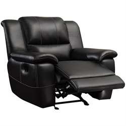 Coaster Lee Transitional Glider Leather Recliner in  Black