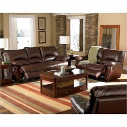 Coaster Clifford 3 Piece Reclining Leather Sofa Set in Brown