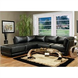 Coaster Kayson Contemporary 5 Piece Bonded Leather Sectional Sofa in Black