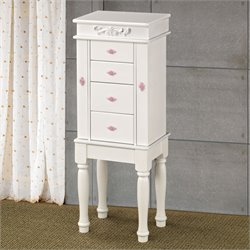 Coaster Jewelry Armoire with Felt Lining in White