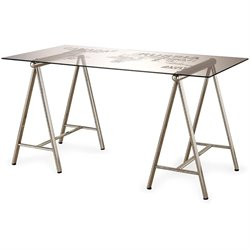Coaster World Map Writing Desk in Nickel
